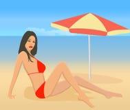Aantrekkelijk meisje op strand royalty-vrije illustratie