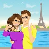 Aantrekkelijk paar die selfie foto nemen stock illustratie