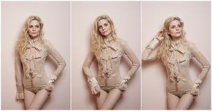 Aantrekkelijk sexy blonde in naakte strakke geschikte blouse en bikini die provocatively stellen Portret van sensuele vrouw in kl Stock Fotografie