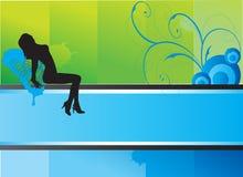 Aantrekkelijk vrouwensilhouet op abstracte achtergrond stock illustratie