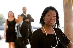 Aantrekkelijke Afrikaanse Amerikaanse BedrijfsVrouw stock foto's