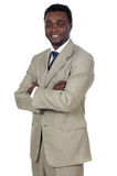 Aantrekkelijke Afrikaanse zakenman stock foto's