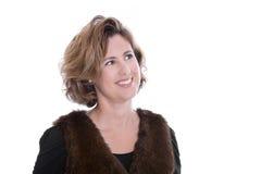 Aantrekkelijke bedrijfsvrouw: het kijken weg en geïsoleerd op wit Royalty-vrije Stock Foto's