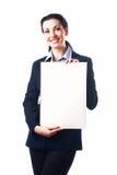 Aantrekkelijke bedrijfsvrouw met leeg document blad Stock Foto