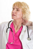 Aantrekkelijke blonde Kaukasische gezondheidszorgarbeider Royalty-vrije Stock Foto