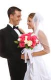 Aantrekkelijke Bruid en Bruidegom bij Huwelijk royalty-vrije stock fotografie