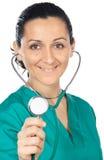 Aantrekkelijke dame arts (nadruk in het gezicht) Stock Foto