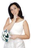 Aantrekkelijke dame die als het huwelijk neemt denkt Stock Foto