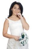 Aantrekkelijke dame die als het huwelijk neemt denkt Royalty-vrije Stock Afbeelding