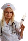 Aantrekkelijke Dame Doctor met spuit royalty-vrije stock foto