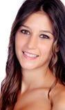 Aantrekkelijke donkerbruine vrouw met bruine ogen Stock Foto's