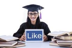 Aantrekkelijke gediplomeerd toont als op geïsoleerde touchpad - royalty-vrije stock afbeeldingen