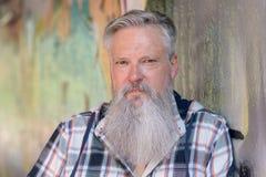 Aantrekkelijke grijs-haired gebaarde mens op middelbare leeftijd royalty-vrije stock foto