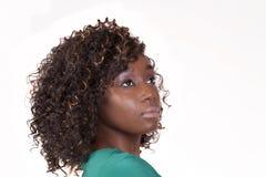 Aantrekkelijke Jonge Afrikaanse Amerikaanse Vrouw 3/4 Portret Stock Foto