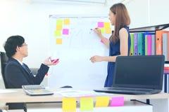 Aantrekkelijke jonge Aziatische bedrijfsvrouw die strategieën op tikgrafiek verklaren aan stafmedewerker in bestuurskamer stock afbeeldingen
