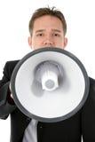 Aantrekkelijke Jonge BedrijfsMens met Megafoon Royalty-vrije Stock Afbeeldingen