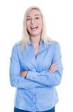 Aantrekkelijke jonge blonde vrouw die in busin wordt geïsoleerd Royalty-vrije Stock Foto
