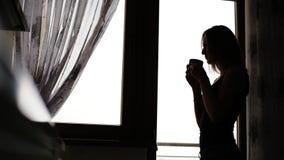 Aantrekkelijke jonge dame die een rust hebben en een kop thee of een koffie voor het venster thuis drinken stock video