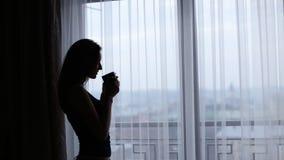 Aantrekkelijke jonge dame die een rust hebben en een kop thee of een koffie voor het venster thuis drinken stock footage