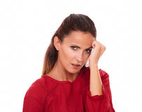 Aantrekkelijke jonge dame die met hoofdpijn u bekijken royalty-vrije stock foto's