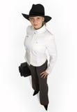 Aantrekkelijke jonge dame met aktentas stock afbeelding