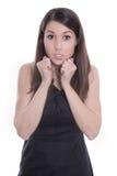 Aantrekkelijke jonge in verwarring gebrachte vrouw - die op wit wordt geïsoleerd Stock Afbeeldingen