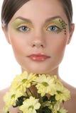 Aantrekkelijke jonge volwassene met make-up op wit royalty-vrije stock afbeeldingen