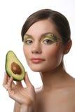 Aantrekkelijke jonge volwassene met make-up op wit stock foto