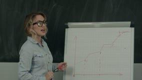 Aantrekkelijke jonge vrouw die in glazen een grafiek trekken op een tikgrafiek stock footage