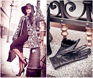 Aantrekkelijke jonge vrouw in een schot van de de wintermanier Mooi modieus jong meisje in het zwarte strakke kleding stellen teg Royalty-vrije Stock Foto's
