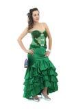 Aantrekkelijke jonge vrouw in elegante groene kleding Royalty-vrije Stock Foto