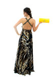 Aantrekkelijke jonge vrouw in elegante zwarte kleding Stock Fotografie