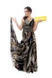 Aantrekkelijke jonge vrouw in elegante zwarte kleding Stock Afbeeldingen