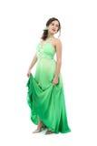 Aantrekkelijke jonge vrouw in groene kleding Royalty-vrije Stock Afbeelding