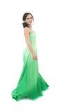 Aantrekkelijke jonge vrouw in groene kleding Royalty-vrije Stock Foto