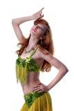 Aantrekkelijke jonge vrouw het dansen buik-dans Stock Afbeeldingen