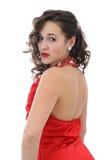 Aantrekkelijke jonge vrouw in rode kleding royalty-vrije stock afbeeldingen