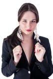 Aantrekkelijke jonge vrouw in zwarte Stock Foto's