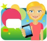 Aantrekkelijke jonge vrouwelijke reclamecellphone Royalty-vrije Stock Foto's