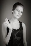 Aantrekkelijke Kaukasische vrouw in haar die 30 op a wordt geïsoleerd Stock Afbeeldingen