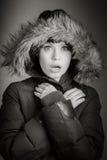 Aantrekkelijke Kaukasische vrouw in haar die 30 op a wordt geïsoleerd Royalty-vrije Stock Afbeelding