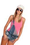Aantrekkelijke maniervrouw met zonnebril Stock Afbeelding