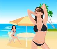 Aantrekkelijke meisjes op strand stock illustratie