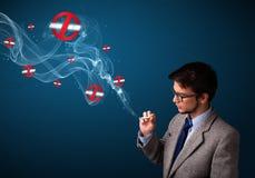 Aantrekkelijke mens die gevaarlijke sigaret met nr roken - rokende tekens Royalty-vrije Stock Afbeelding