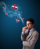 Aantrekkelijke mens die gevaarlijke sigaret met nr roken - rokende tekens Royalty-vrije Stock Foto
