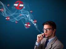 Aantrekkelijke mens die gevaarlijke sigaret met nr roken - rokende tekens Stock Foto's