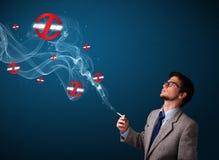 Aantrekkelijke mens die gevaarlijke sigaret met nr roken - rokende tekens Royalty-vrije Stock Fotografie