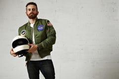 Aantrekkelijke motorfietser in de lege reeks van het jasjemodel royalty-vrije stock afbeeldingen