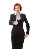 Aantrekkelijke onderneemster met haar gekruiste wapens Stock Foto's