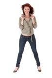 Aantrekkelijke roodharige jonge vrouw Stock Foto's